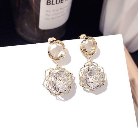 Joyas con encanto coreana nueva moda oro rosa pendientes de circón tendencia pendientes de aguja de plata al por mayor nihaojewelry NHFT235306's discount tags