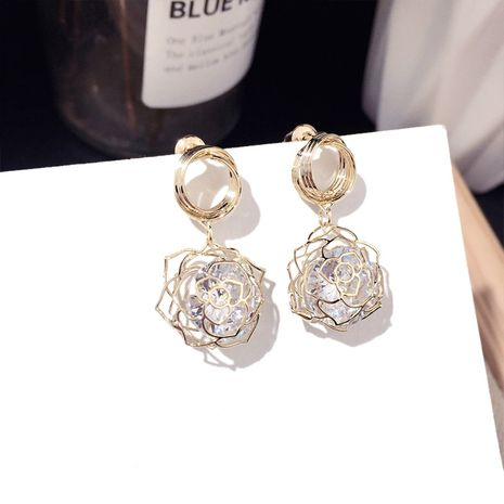 Charming jewelry Korean new fashion golden rose zircon earrings trend silver needle earrings wholesale nihaojewelry NHFT235306's discount tags
