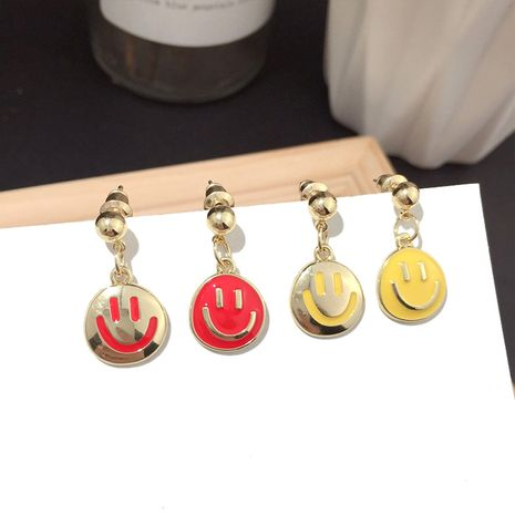 Korean new fashion smiley childlike silver needle earrings super fairy trend earrings wholesale nihaojewelry NHFT235315's discount tags