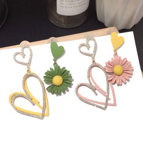 Korean new fashion asymmetric big flower earrings hipster silver needle earrings wholesale nihaojewelry NHFT235318's discount tags