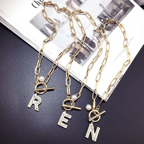 Korea fashion bungee letters medium and long sweater chain wholesale nihaojewelry NHFT235322's discount tags