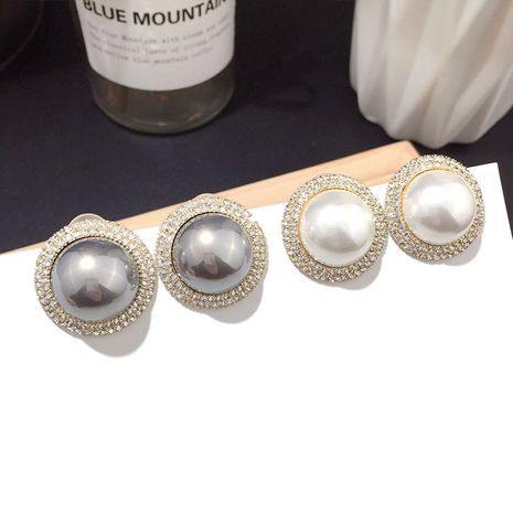 Korean new elegant white pearl earrings silver needle earrings wholesale nihaojewelry NHFT235325's discount tags