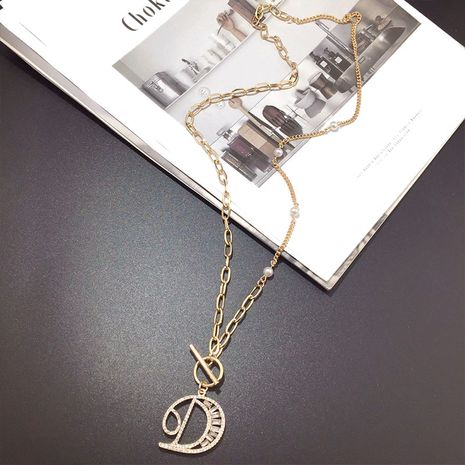 Korean crystal sweater chain simple fashion metal letter pendant neck chain necklace wholesale nihaojewelry NHFT235336's discount tags