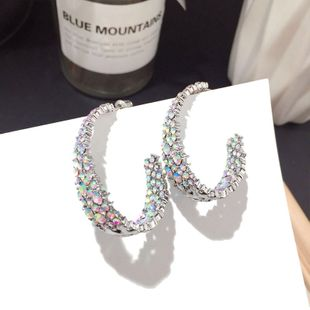 Korean new loop earrings full diamond fashion super flash silver needle earrings wholesale nihaojewelry NHFT235338's discount tags