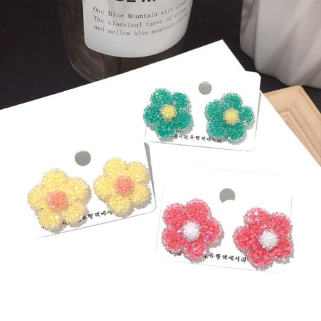 Korea new Harajuku flowers crystal texture earrings fashion silver needle earrings wholesale nihaojewelry NHFT235340's discount tags