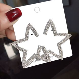 Korean s925 silver needle new star earrings five-pointed star exaggerated earrings wholesale nihaojewelry NHFT235349's discount tags