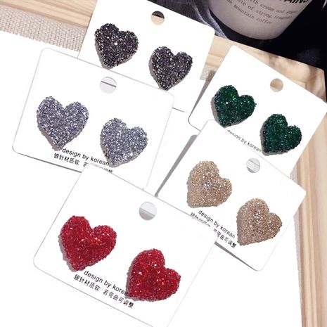 Korean new love silver pin earrings simple peach heart hot exquisite earrings wholesale nihaojewelry NHFT235352's discount tags