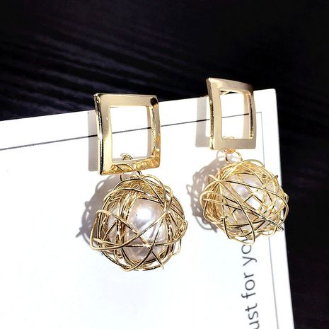 Korea's new s925 silver needle square hollow bird nest pearl earrings wholesale nihaojewelry NHFT235361's discount tags