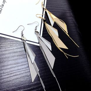 korean fashion exaggerated geometric metal earrings long tassel pendant simple earrings wholesale nihaojewelry NHFT235363's discount tags