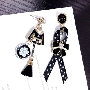 Korea's new asymmetric creative clothes wave dot bow earrings trendy chic earrings wholesale nihaojewelry NHFT235369's discount tags