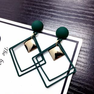 New geometric square square earrings retro long paragraph exaggerated earrings wholesale nihaojewelry NHFT235370's discount tags