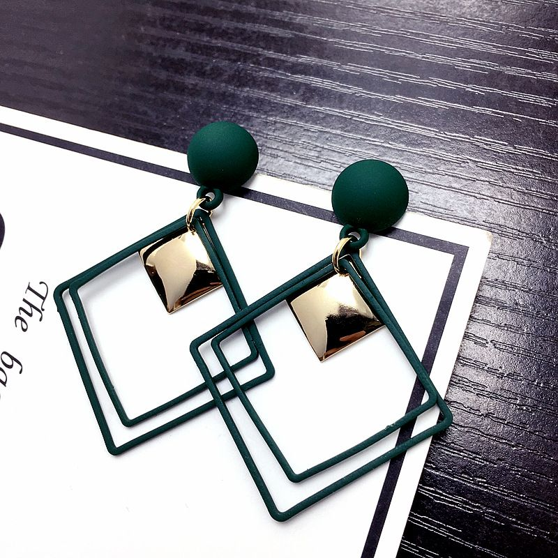 New geometric square square earrings retro long paragraph exaggerated earrings wholesale nihaojewelry NHFT235370