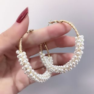 new Korean s925 silver needle earrings exquisite shiny pearl string stitching ring circle earrings wholesale nihaojewelry NHFT235371's discount tags