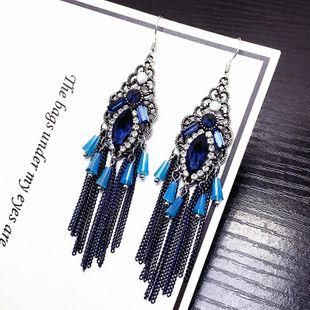 Korean retro crystal long tassel earrings national style ear hooks wholesale nihaojewelry NHFT235372's discount tags