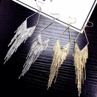 Korean new tassel exaggerated tassel ear hook hypoallergenic earrings stylish simple wholesale nihaojewelry NHFT235373's discount tags