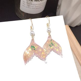 Korean new colorful fashion mermaid to the end super fairy earrings wholesale nihaojewelry NHFT235375's discount tags