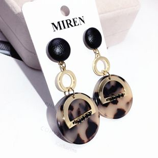 s925 silver needle geometric round earrings retro leopard long earrings autumn and winter new earrings wholesale nihaojewelry NHFT235380's discount tags