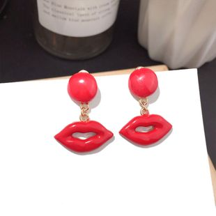 Korean fashion new flame red lips earrings asymmetric thin silver needle earrings wholesale nihaojewelry NHFT235382's discount tags