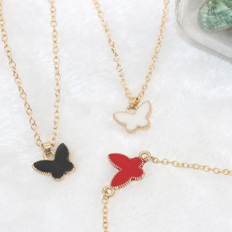 Korean fashion oil drop butterfly pendant necklace new style clavicle chain wholesale NHDP187650
