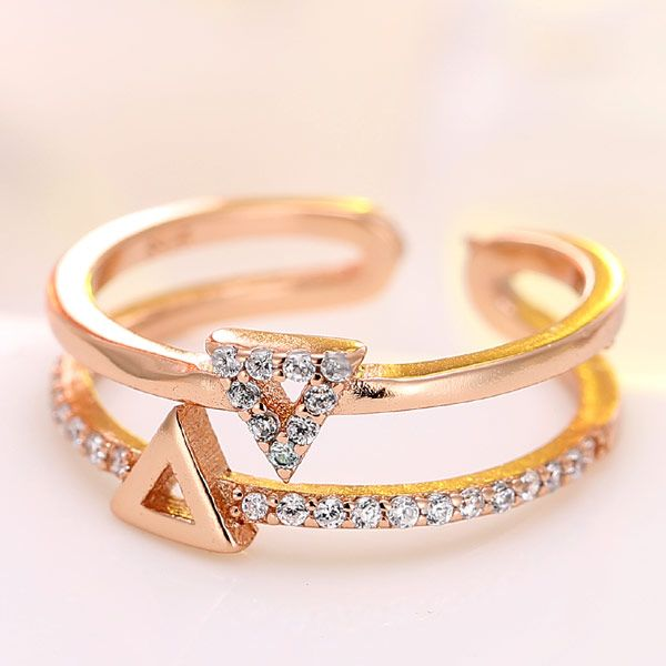 Exquisite Korean Fashion Zircon Inlaid Triangle Open Ring wholesale nihaojewelry NHSC235430