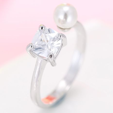 exquisite Korean fashion simple inlaid zirconium pearl open ring wholesale nihaojewelry NHSC235428's discount tags