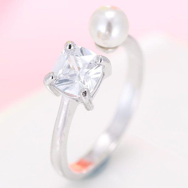 exquisite Korean fashion simple inlaid zirconium pearl open ring wholesale nihaojewelry NHSC235428