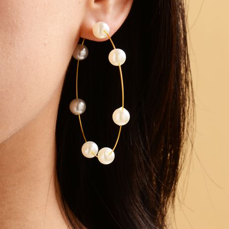 new pearl circle earrings trendy fashion exaggerated pearl earrings wholesale nihaojewelry NHOT235427's discount tags