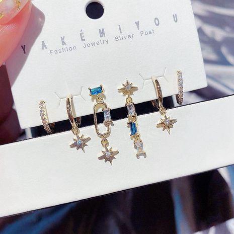 Korean fashion sapphire micro-set zircon octagon long earrings ear buckle 6 piece set wholesale nihaojewelry NHCG235387's discount tags