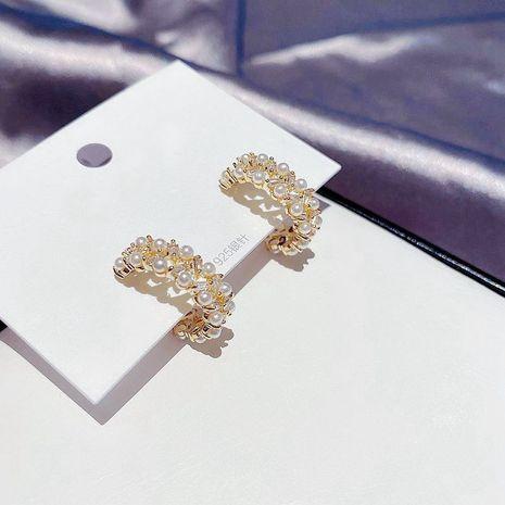 S925 silver needle Korean hollow C-shaped earrings rice beads zircon earrings wholesale nihaojewelry NHCG235388's discount tags