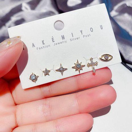 Korean simple small star earrings S925 silver needle cross eyes zircon micro-set earrings wholesale nihaojewelry NHCG235389's discount tags