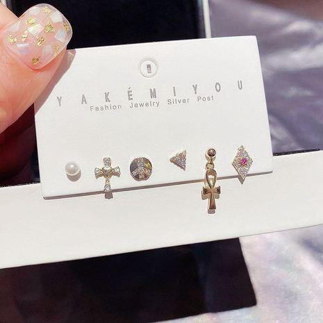 S925 Silver Needle Earrings Set Korea Simple Cross Peace Sign Micro Set Ear Studs Six Pieces wholesale nihaojewelry NHCG235392's discount tags