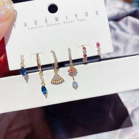 Boucles d'oreilles coréennes six pièces yeux en forme d'éventail micro-boucles d'oreilles en zircon ensemble en gros nihaojewelry NHCG235396's discount tags