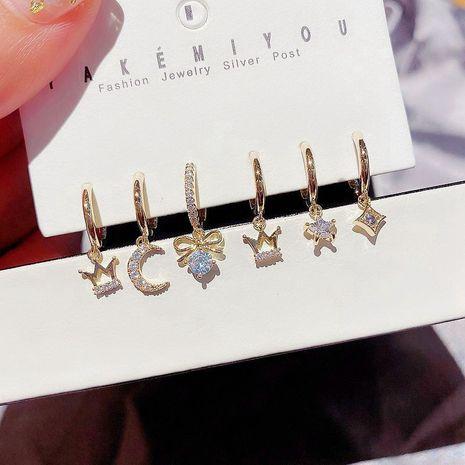 Boucles d'oreilles coréennes six pièces micro-set zircon étoiles lune couronne arc boucles d'oreilles ensemble en gros nihaojewelry NHCG235398's discount tags