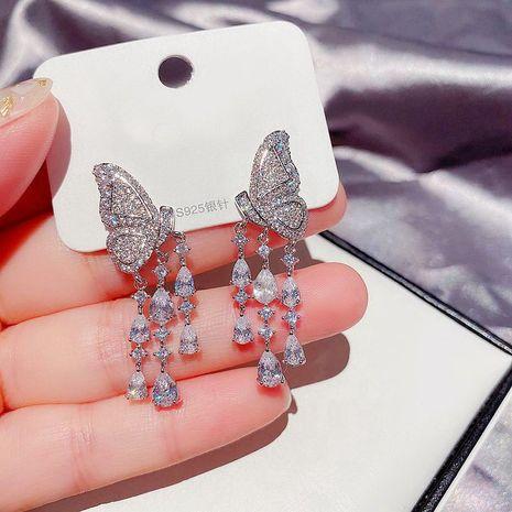 Korean zircon water drop tassel butterflies long earrings accessories wholesale nihaojewelry NHCG235399's discount tags