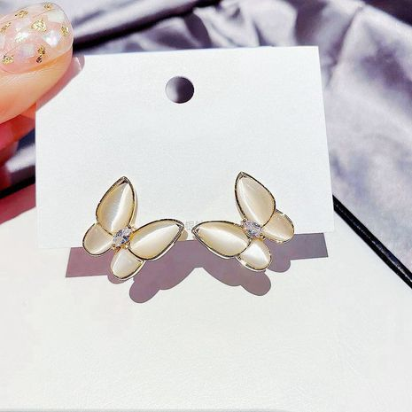 Korean beautiful butterfly earrings S925 silver needle inlaid zirconium diamond opal earrings wholesale nihaojewelry NHCG235402's discount tags