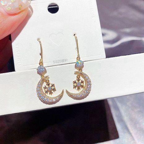Korean new zircon snowflake micro-set moon long earrings wholesale nihaojewelry NHCG235404's discount tags