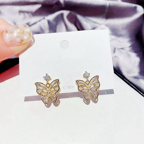 Korea Fairy Butterfly Earrings S925 Silver Needle Hollow Inlay Zircon Gold Plated earrings wholesale nihaojewelry NHCG235405's discount tags