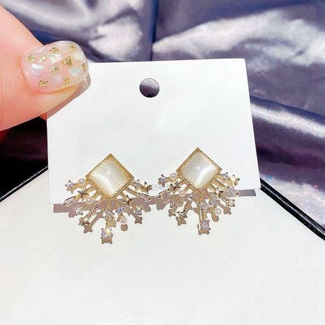 S925 silver needle Korean fashion square opal rice beads zircon star earrings wholesale nihaojewelry NHCG235406's discount tags