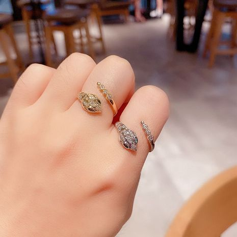 High-end exquisite zircon micro-inlay snake open ring Korean trendy index finger ring wholesale nihaojewelry NHCG235408's discount tags