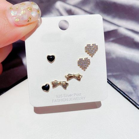 Korean sweet small earrings set S925 silver needle zircon micro-set love bow earrings wholesale nihaojewelry  NHCG235412's discount tags