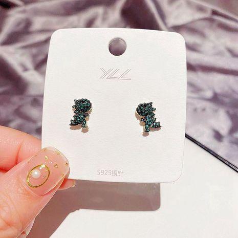 Nouveau coréen mignon vert dinosaure boucles d'oreilles aiguille d'argent micro-set boucles d'oreilles en zircon en gros nihaojewelry NHCG235416's discount tags