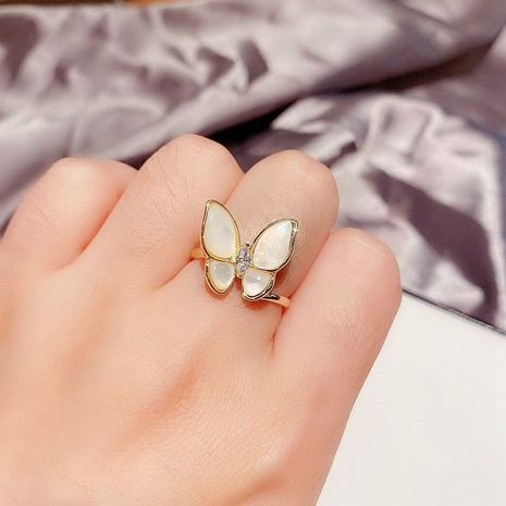 Korean zircon opal butterfly ring opening adjustable ring wholesale nihaojewelry NHCG235418's discount tags