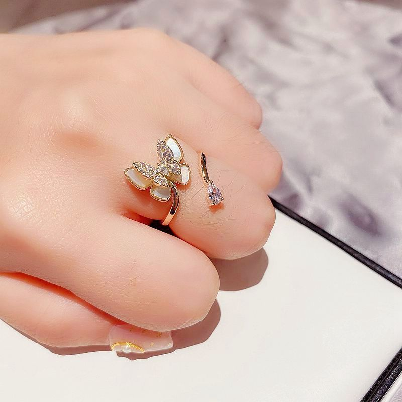 Korean full diamond micro-set natural shell double butterfly ring water drop zircon ring wholesale nihaojewelry NHCG235419