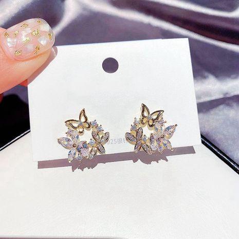 S925 silver needle Korean earrings zircon leaves flowers butterfly earrings wholesale nihaojewelry  NHCG235420's discount tags