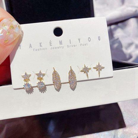 S925 silver needle earring set Korean simple zircon micro inlaid leaves pentagram star earrings wholesale nihaojewelry  NHCG235421's discount tags