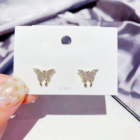 Korean fairy small butterfly earrings S925 silver needle zircon micro-inlay earrings gold-plated earrings wholesale nihaojewelry  NHCG235423's discount tags