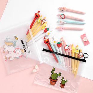 Creative cartoon press set pen gel pen 10 combination set black signature pen wholesale nihaojewelry NHHE235535's discount tags