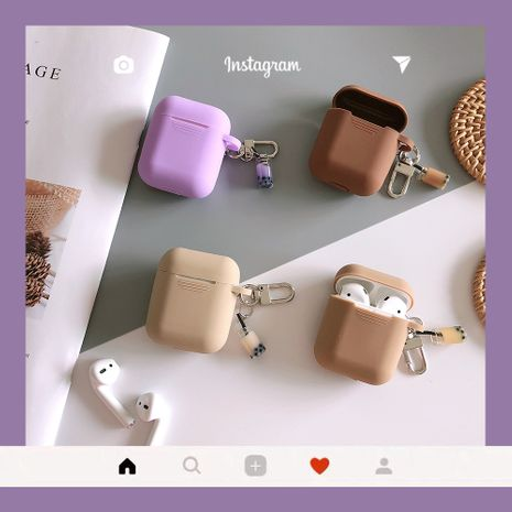 Korean style milk tea AirPods storage protective cover soft silicone anti-fall case wholesale nihaojewelry  NHFI235553's discount tags