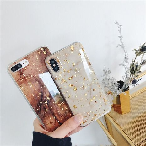 marble gold foil case suitable for iPhone XR all-inclusive soft anti-fall case wholesale nihaojewelry NHFI235568's discount tags