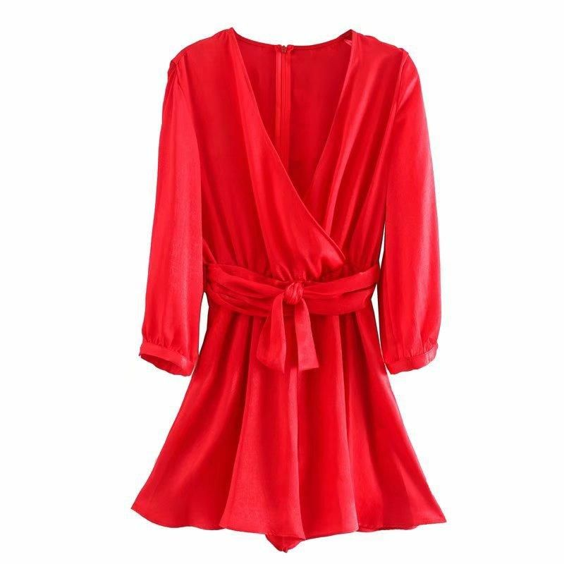 Wholesale new women's bow-tie silk satin texture jumpsuit NHAM200171